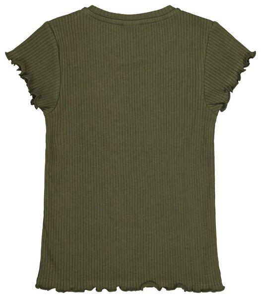 kinder t-shirt rib legergroen 110/116 - 30831465 - HEMA
