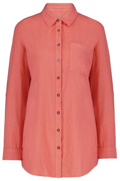 dames blouse met linnen roze roze - 1000024278 - HEMA
