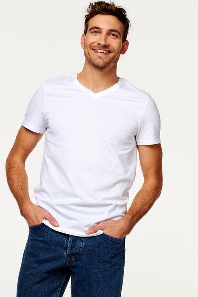 2-pak heren t-shirts V-hals - extra lang wit M - 34277084 - HEMA