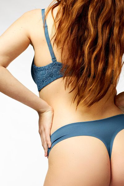damesstring second skin micro middenblauw middenblauw - 1000022647 - HEMA