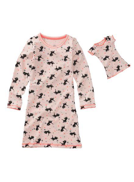 kindernachthemd en poppennachthemd lichtroze - 1000009660 - HEMA