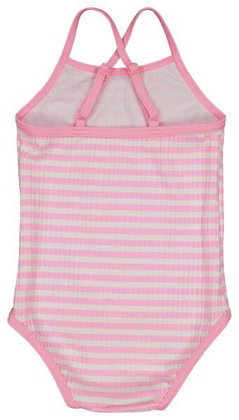 baby badpak rib strepen fluor roze 74/80 - 33210922 - HEMA