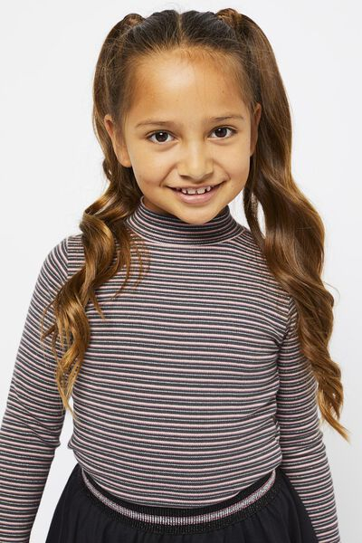 kinder t-shirt rib streep paars 158/164 - 30853265 - HEMA
