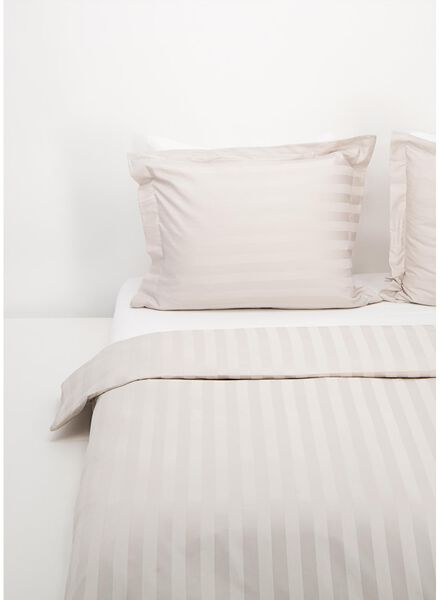 dekbedovertrek - hotel katoen satijn - streep zand zand - 1000016593 - HEMA