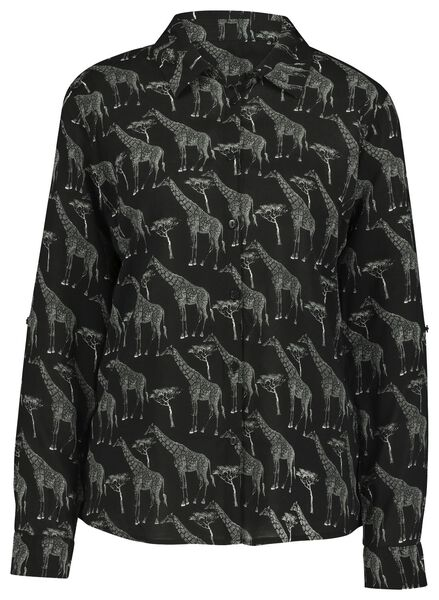 damesblouse giraf zwart XL - 36258359 - HEMA