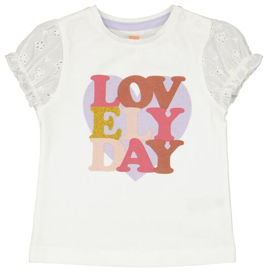 baby t-shirt ruffle lovely day gebroken wit gebroken wit - 1000023369 - HEMA