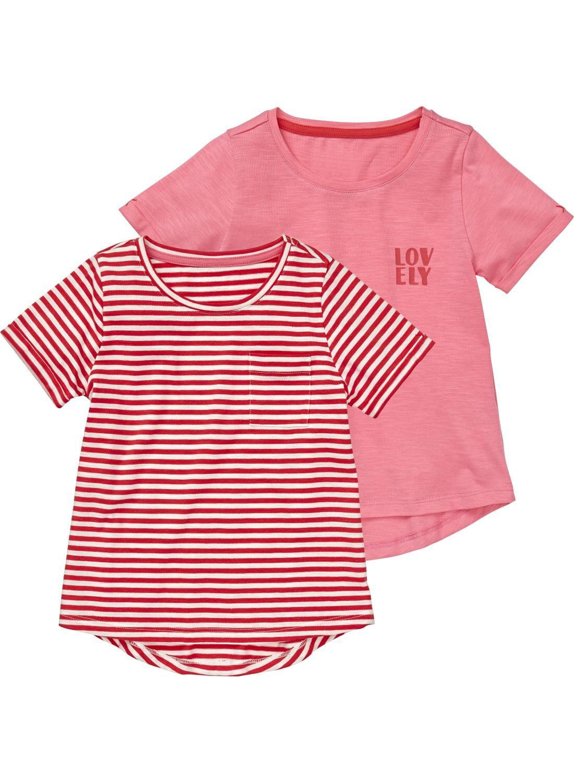ea49d5d5f4f HEMA 2-pak Kinder T-shirts Roze (roze) nu voor slechts €7,5,-. Een set van  twee kinder t-shirts met korte mouwen en een ronde hals.