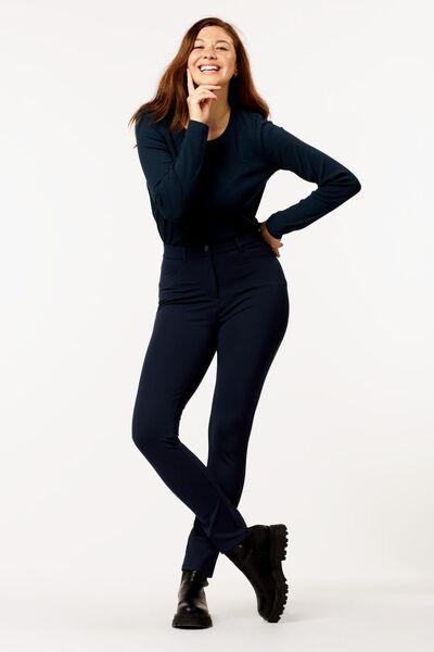 dames t-shirt rib donkerblauw S - 36214141 - HEMA