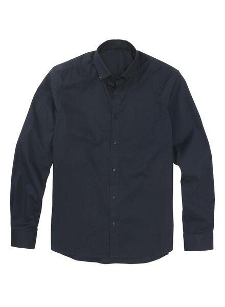 herenoverhemd donkerblauw donkerblauw - 1000011109 - HEMA