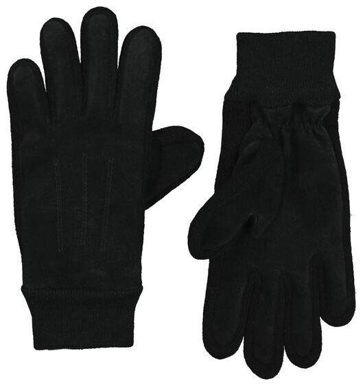 dameshandschoenen suède/gebreid zwart L/XL - 16460692 - HEMA