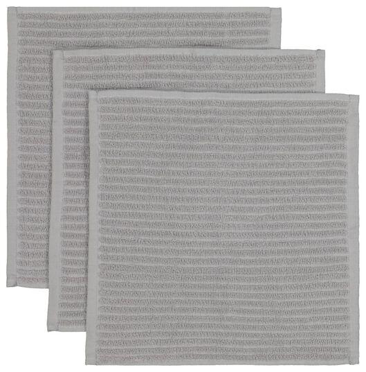 vaatdoekjes - katoen - grijs - 3 stuks - 5480204 - HEMA