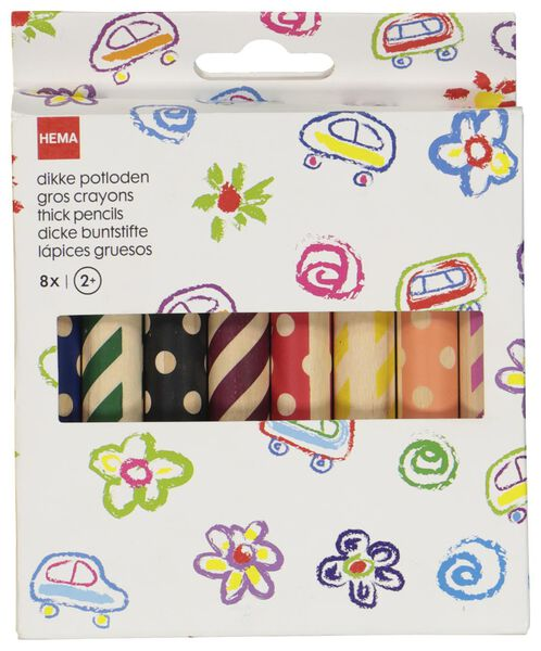 dikke kleurpotloden 8 stuks - 15990113 - HEMA