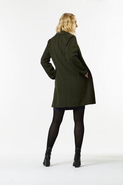 damesjas met wol donkergroen M - 36213917 - HEMA