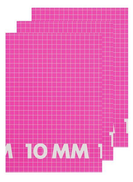 3-pak schriften A4 geruit 10 mm - 14522510 - HEMA
