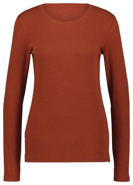 dames t-shirt rib bruin bruin - 1000024841 - HEMA