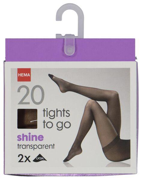 2-pak panty's shine to go - 20 denier naturel 48/52 - 4020309 - HEMA