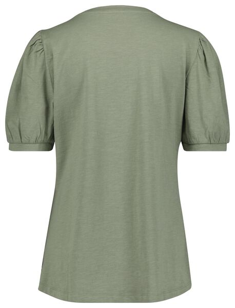 dames t-shirt pofmouw lichtgroen S - 36222246 - HEMA