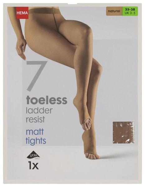 panty zonder tenen 7 denier naturel 40/42 - 4042407 - HEMA