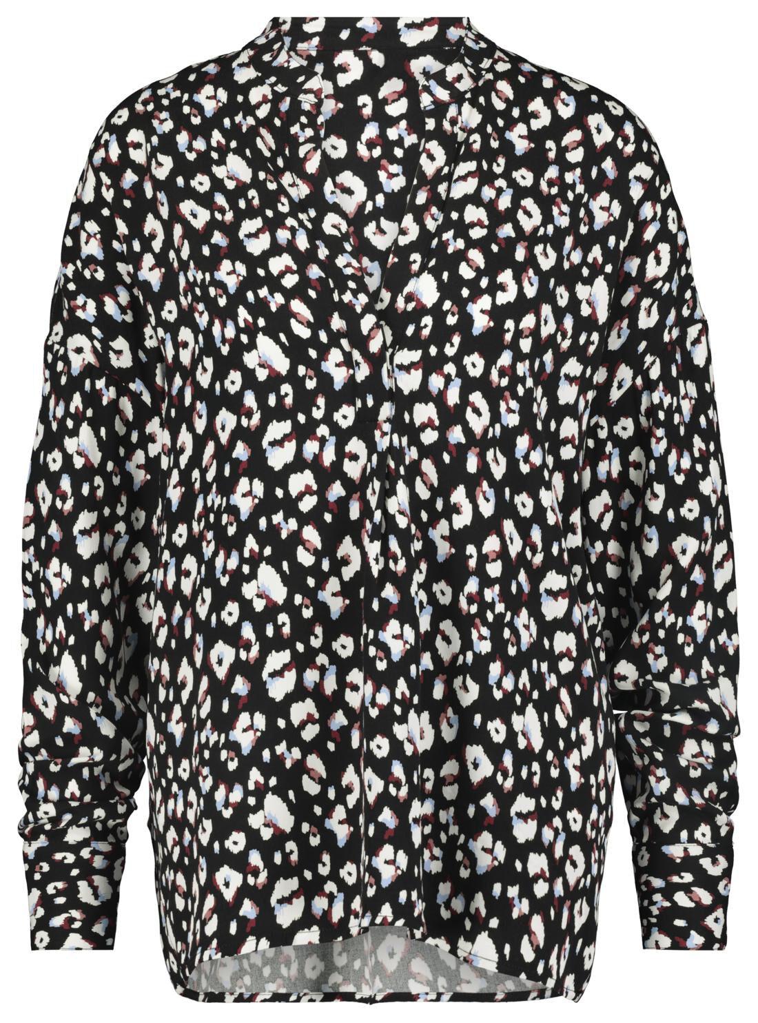 HEMA Damesblouse Luipaard Zwart (zwart)