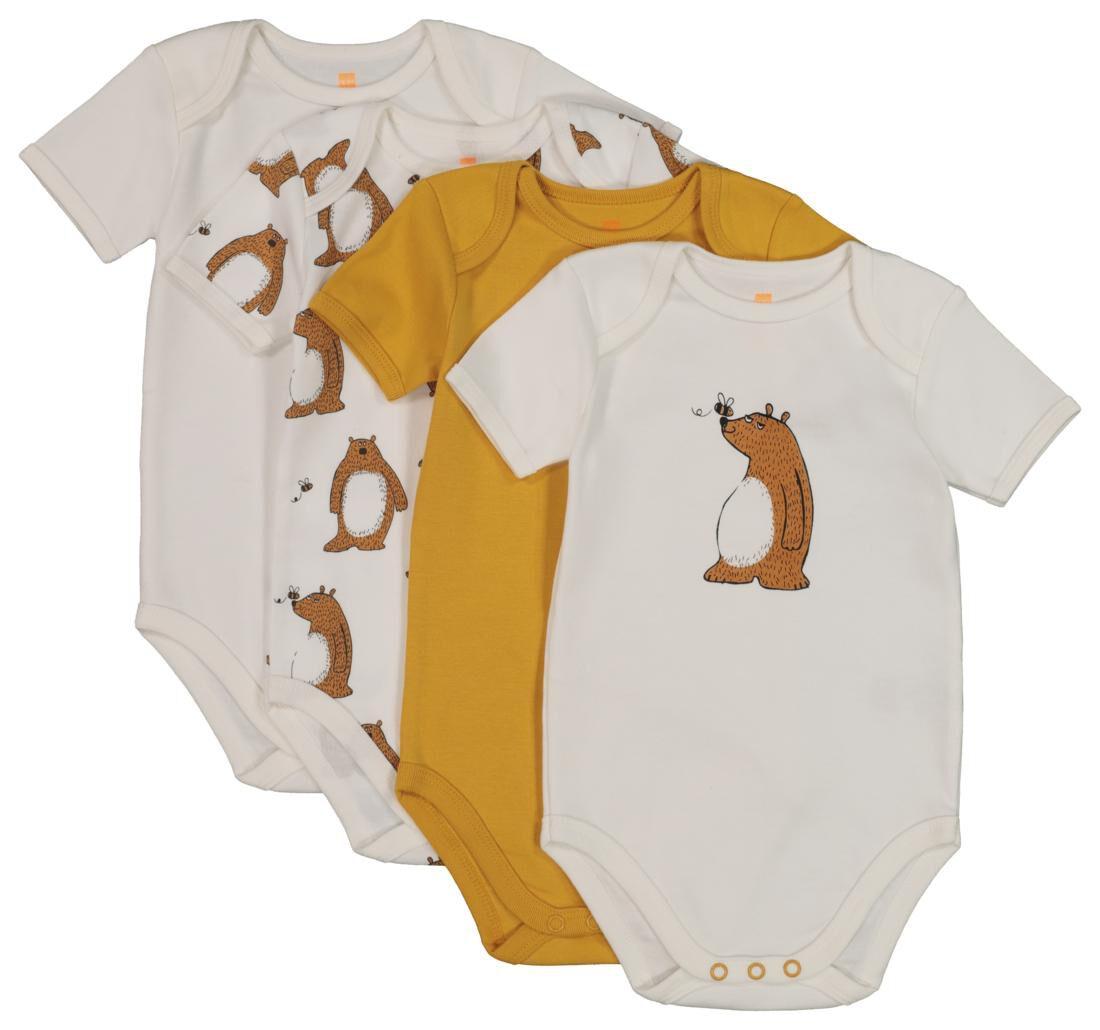 Baby pyjama met voetjes oranje rood gestreept