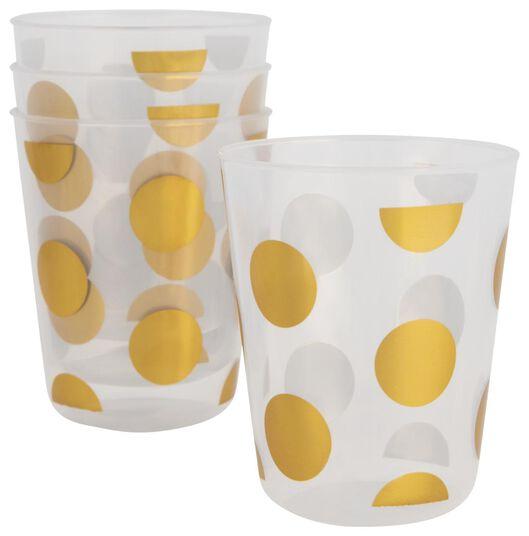 plastic bekers herbruikbaar - Ø7.5 cm - gouden stippen - 4 stuks - 14200392 - HEMA