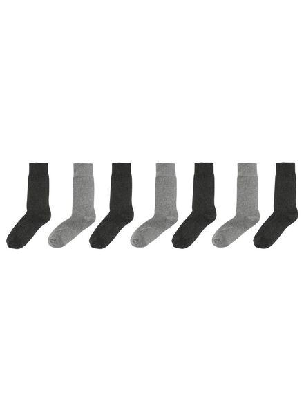 7-pak herensokken grijsmelange - 1000001381 - HEMA