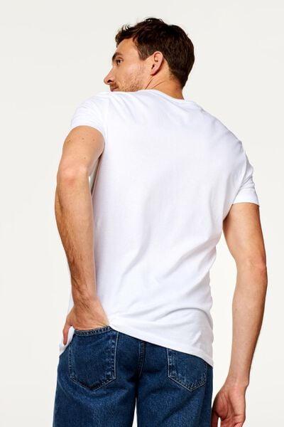 2-pak heren t-shirts V-hals - extra lang wit L - 34277085 - HEMA
