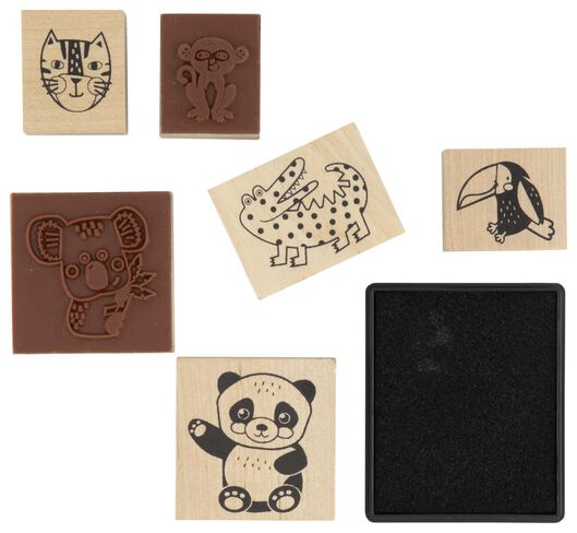stempels hout met stempelkussen - 6 stuks - 15980006 - HEMA