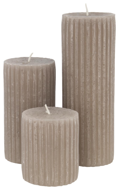 HEMA Rustieke Kaars Met Reliëf 7x13 Taupe (taupe)