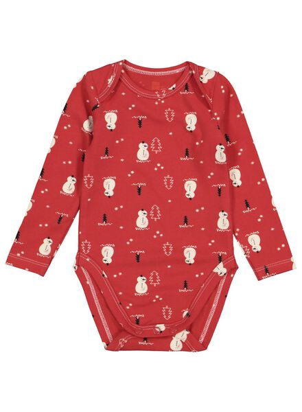 newborn romper biologisch katoen stretch rood rood - 1000016576 - HEMA