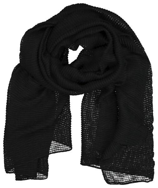 damessjaal 200x80 kreukel zwart - 1790018 - HEMA