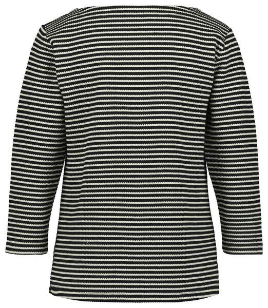 dames-shirt streep structuur zwart/wit L - 36228078 - HEMA