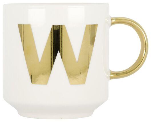 mok aardewerk wit/goud 350 ml - W - 61120118 - HEMA