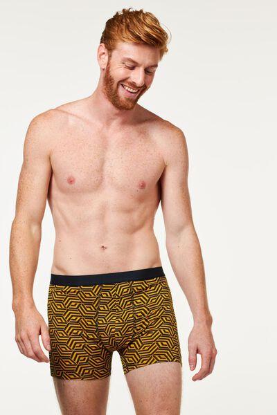 3-pak herenboxers lang katoen stretch - grafisch geel geel - 1000021930 - HEMA