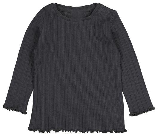 baby t-shirt rib donkergrijs - 1000021188 - HEMA