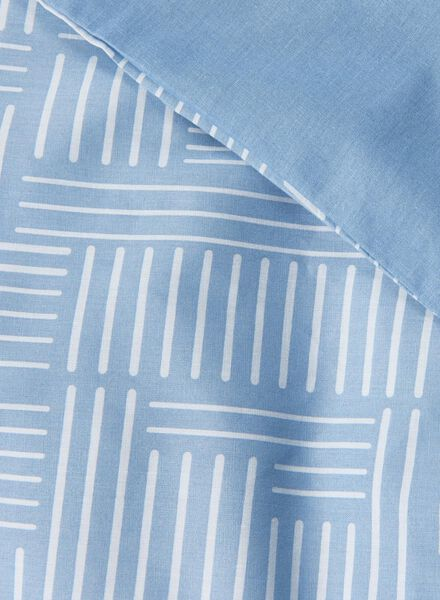 dekbedovertrek - zacht katoen - 140 x 200 cm - blauw print blauw 140 x 200 - 5750010 - HEMA