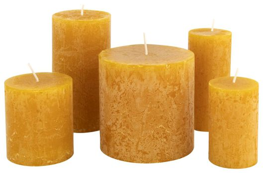 rustieke kaarsen okergeel okergeel - 1000015362 - HEMA