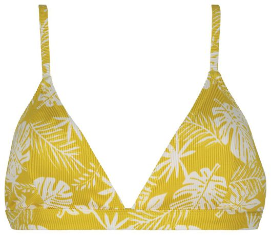 dames bikinitop zonder beugel - rib flower geel XL - 22350225 - HEMA