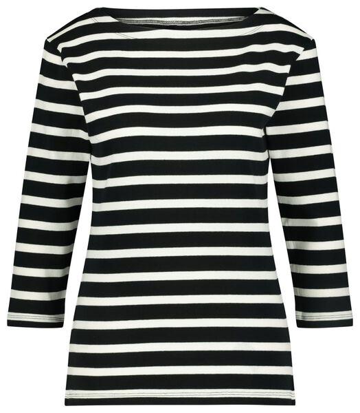 dames t-shirt streep boothals zwart/wit S - 36324786 - HEMA