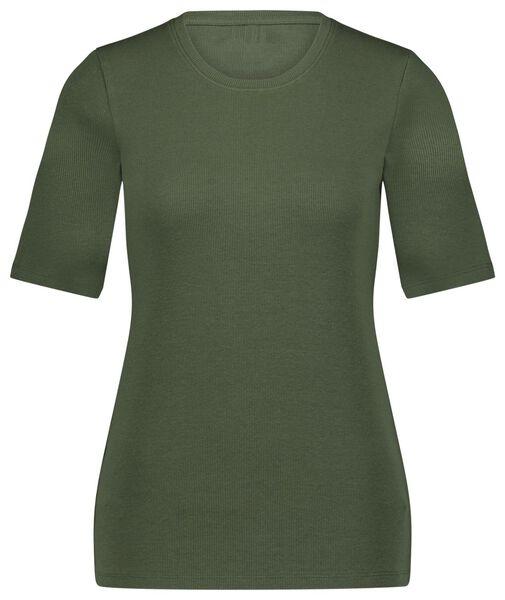 dames t-shirt rib groen XL - 36204154 - HEMA
