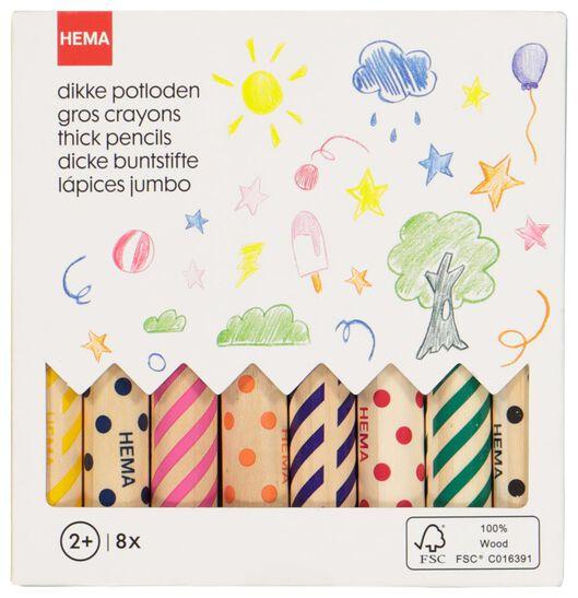 dikke kleurpotloden - 8 stuks - 15900036 - HEMA