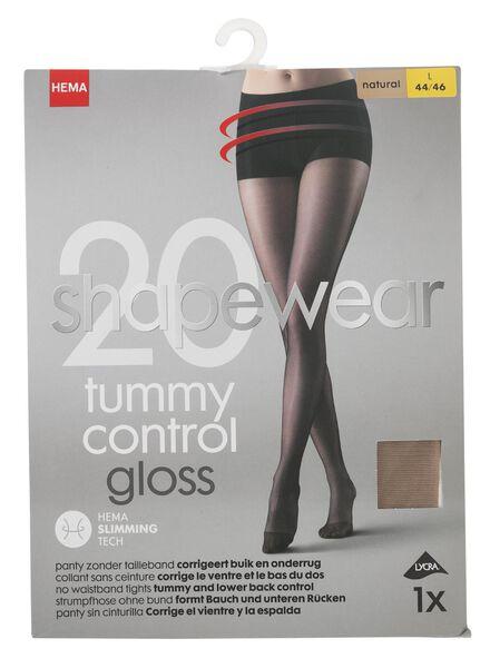 panty glanzend tummy control 20denier naturel 48/52 - 4042319 - HEMA