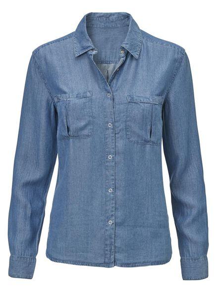 damesblouse middenblauw middenblauw - 1000012018 - HEMA