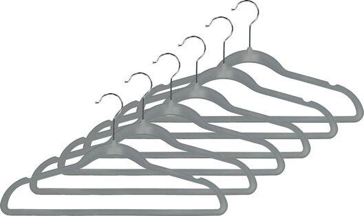 Kledinghangers velours grijs - 6 stuks