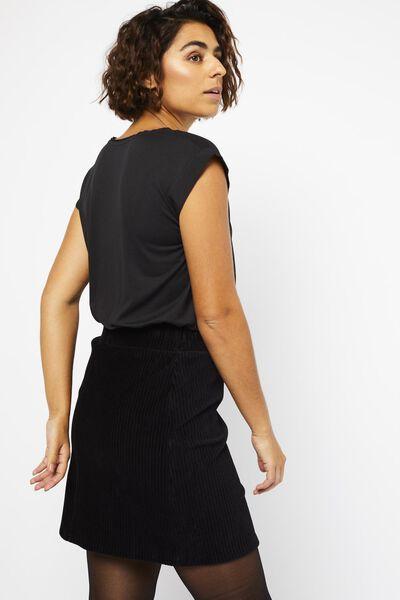 damesrok corduroy rib zwart zwart - 1000022201 - HEMA