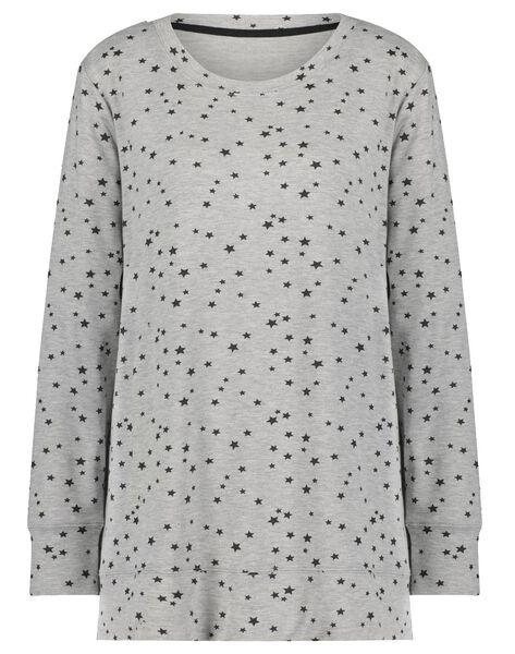 dames nachtshirt viscose fleece sterren grijsmelange XL - 23422114 - HEMA
