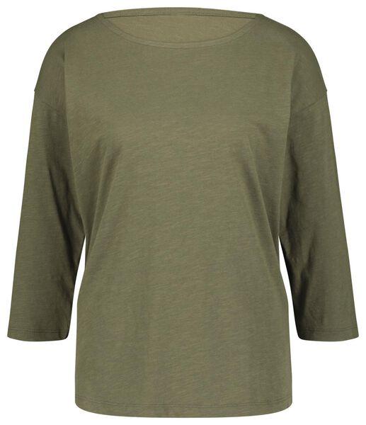 dames t-shirt olijf olijf - 1000018258 - HEMA