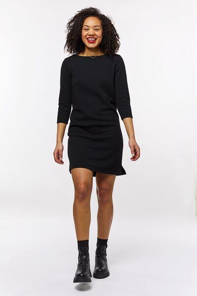 damesjurk structuur zwart zwart - 1000023719 - HEMA