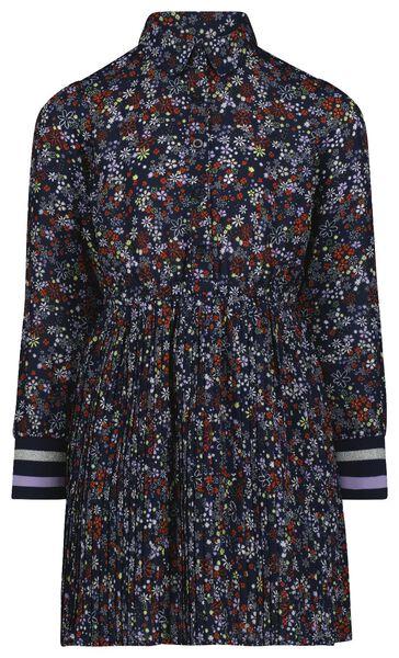 kinderjurk plissé bloemen donkerblauw donkerblauw - 1000024947 - HEMA