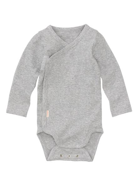newborn-prematuur overslagromper bamboe stretch grijsmelange grijsmelange - 1000013400 - HEMA